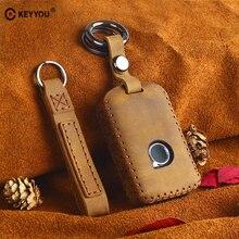 KEYYOU Car Key Bag Cover Genuine Leather Keychain Car Key Case For Volvo XC40 XC60 S90 XC90 V90 2017 2018 T5 T6 2015 2016 T8