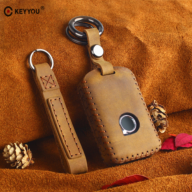 KEYYOU Car Key Bag Cover Genuine Leather Keychain Car Key Case For Volvo XC40 XC60 S90 XC90 V90 2017 2018 T5 T6 2015 2016 T8
