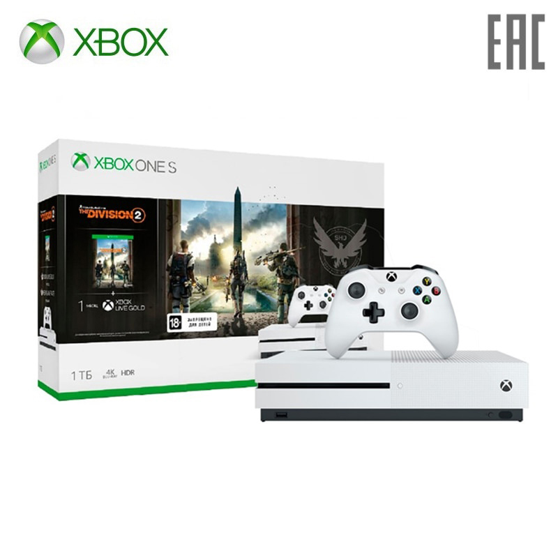 Игровая консоль Xbox One S 1 ТБ с игрой Tom Clancy\'s The Division 2 + 1 месяц Xbox Game Pass + 1 месяц Xbox Live Gold