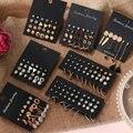 POXAM Fashion Women Earrings Pearl Stud Earrings For Women New Bohemian 2020 Geometric Small Crystal Heart Earrings Punk Jewelry