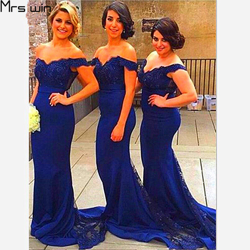 Mrs Win Bridesmaid Dresses Mermaid For Girls 2020 Women Wedding Party Dress Lace Train Boat Neck Vestido Madrinha Under 50 HR073