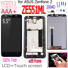 WEIDA For Asus Zenfone 2 ZE551ML Z00A LCD Display Panel Touch Screen Digitizer Assembly Frame ZE551ML Z00AD LCD Free TooL