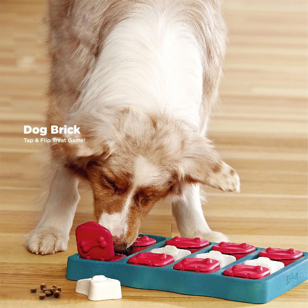 Dog Brick Tap&Flip Treat Puzzle Toy Box Pet Dog High IQ Development Training Interactive Toy Educational Food Feeder Toys