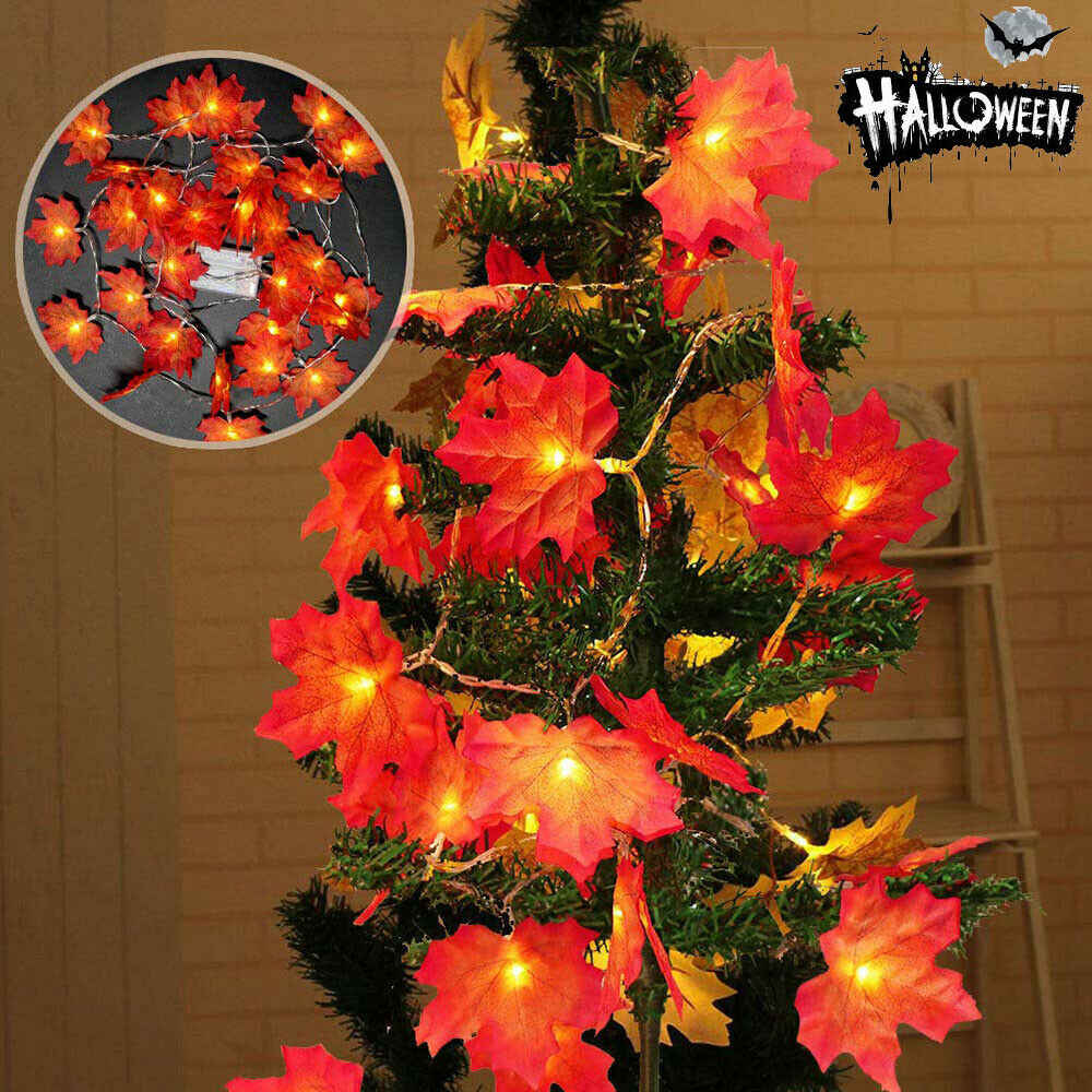 1 5M 10Led Fairy String Lights Maple Leaves Light Battery Operated For Outdoor Home Christmas Decorations For Party Outdoor