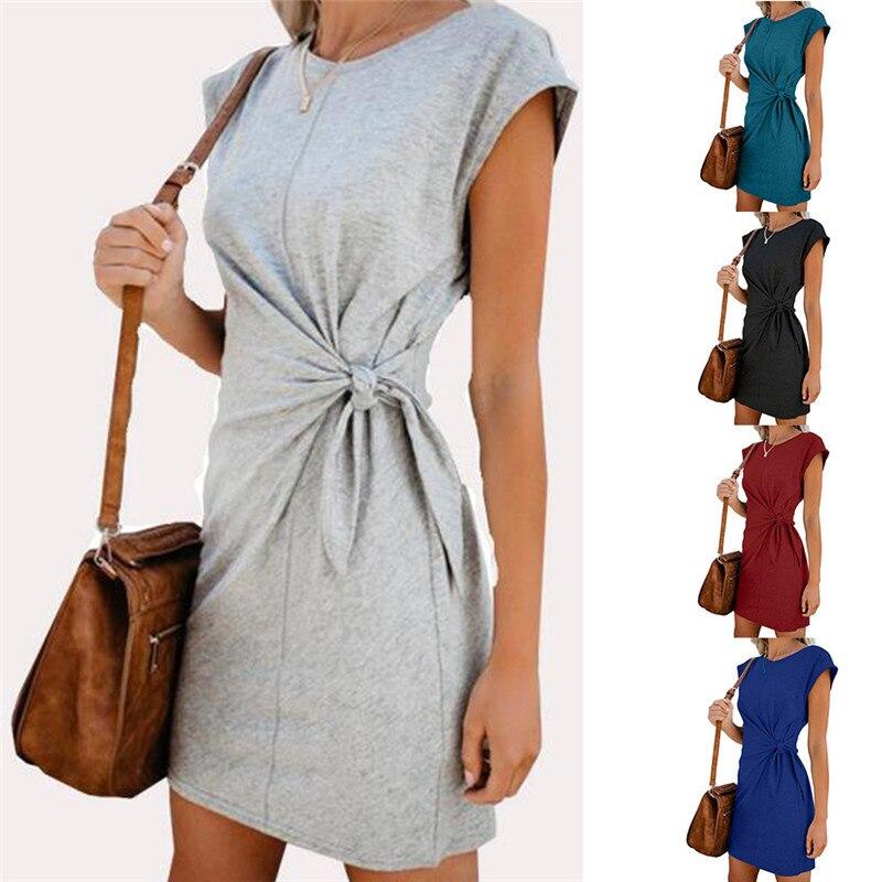 Fashion Women Mini Dress Casual Round Neck Waist Tie Short Sleeve Summer Women Dress 2020 Loose Elegant Women Short Dress (8)