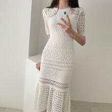 Элегантное ажурное женское трикотажное платье с коротким рукавом