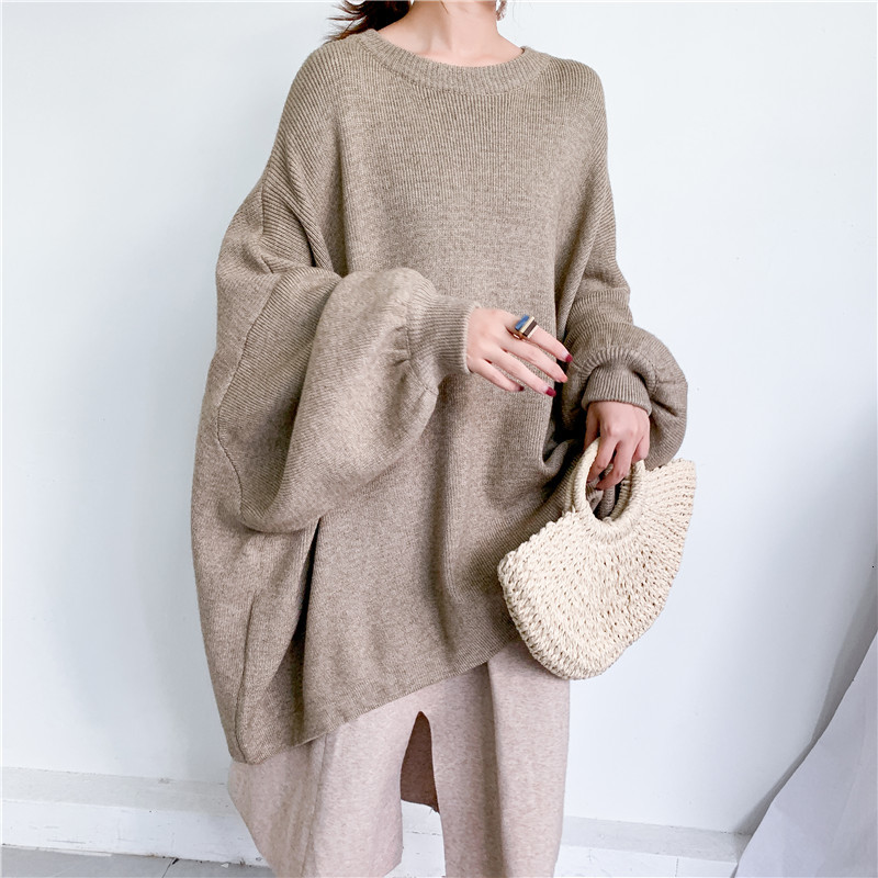 LANMREM 2020 Spring New Fashion Solid Color Round Neck Pullover Bat Sleeve Large Size Long Knit Sweater Women PB615