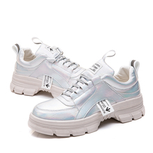 Glitter Silver Sneakers Women 2019 White Platform Fashion Baskets femme Chunky dames