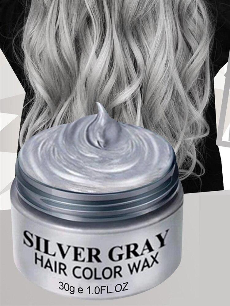 120g Silver Hair Wax Disposable Hair Dye Light Gray White Color Hair Dye Cream One-time Molding Paste Dye Cream Hair Gel