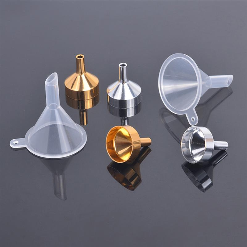 4pcs Mini Silver Metal Funnels For Transferring Liquid Spices Perfume Essential Oil With 1pc PP Funnel