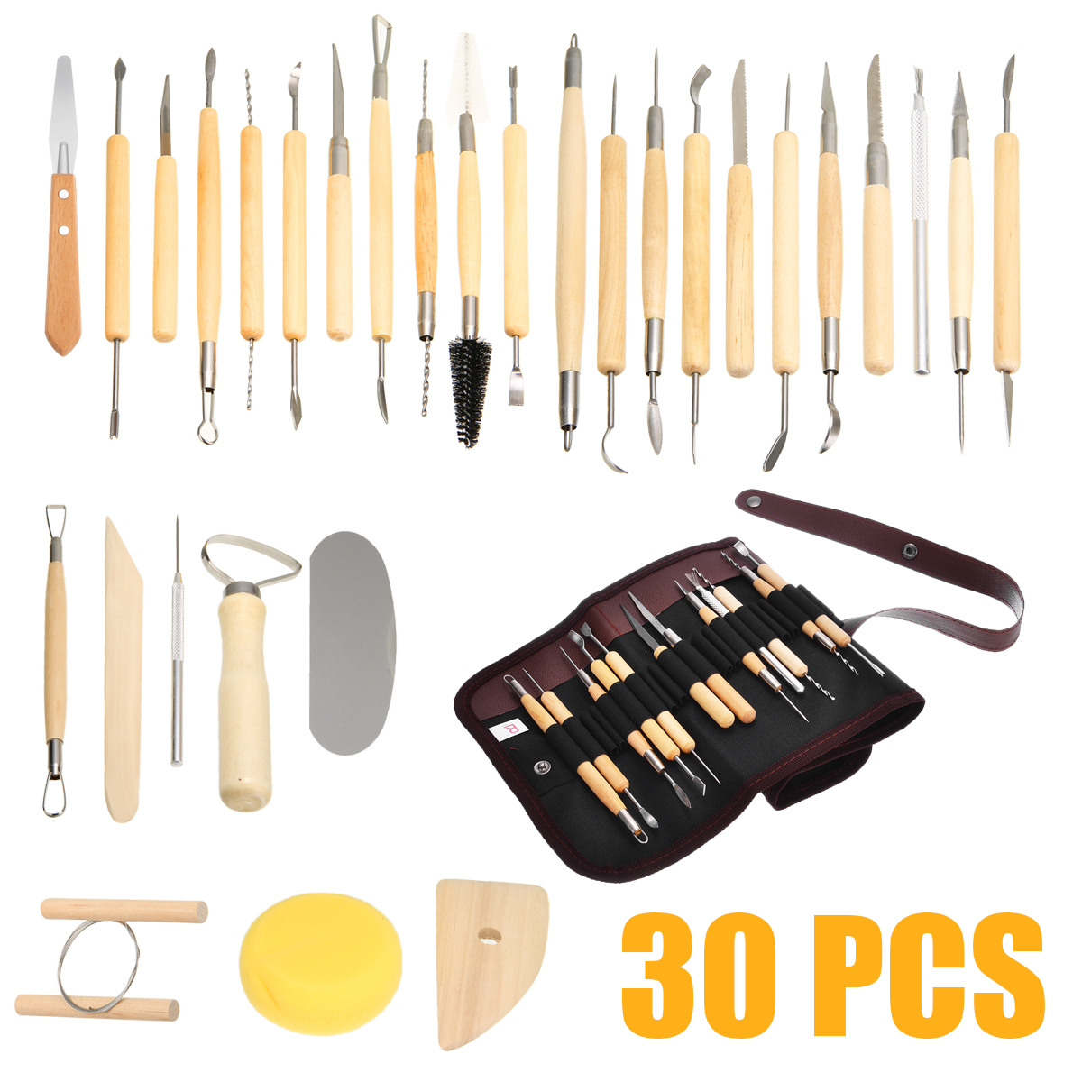 30PCS DIY Pottery Clay Sculpture Carving Modelling Ceramic Craft Tools Kit Clay