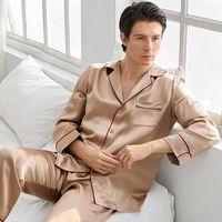 High Grade 100% Mulberry Silk Men Pajamas Sets For All Season Long Sleeved 100% Natural Silk Pijama Masculino Pyjama Suit