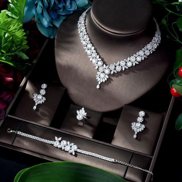 HIBRIDE الحصري زركون 4 قطعة طقم مجوهرات التركية فيرس 2020 الساطع النحاس شرابة دبي طقم مجوهرات s للسيدات N 920