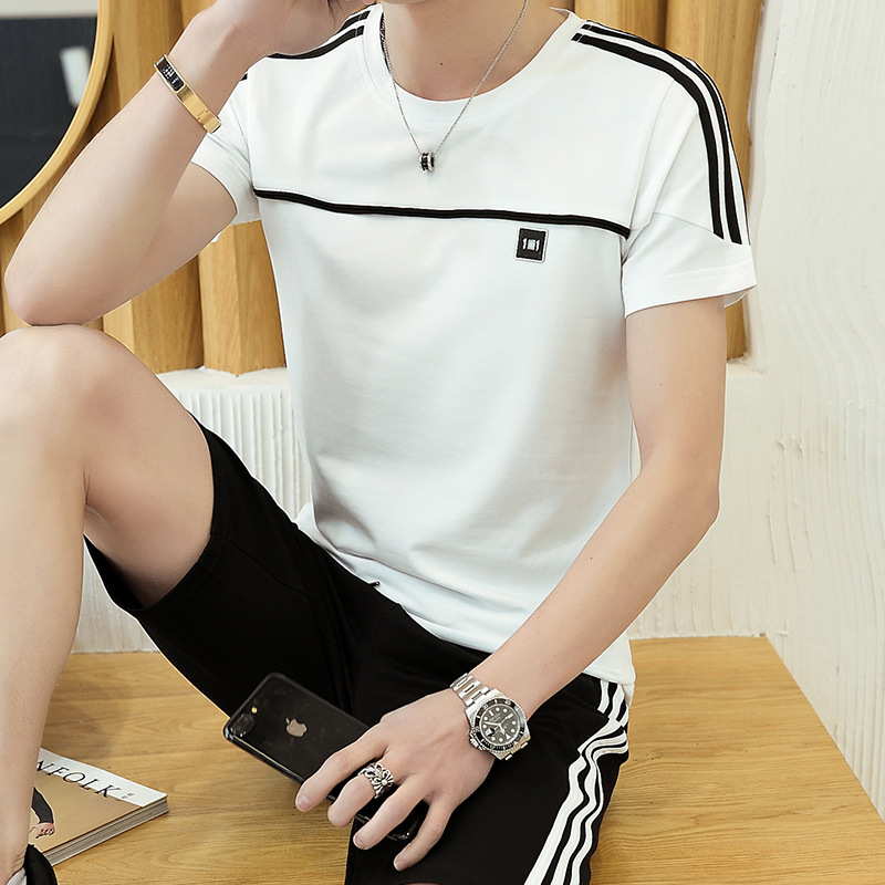 2019 Summer Short-sleeved MEN'S Suit Korean-style Slim Fit Trend Two-Piece Casual Sports Clothing A Set Of Clothes Men'S Wear