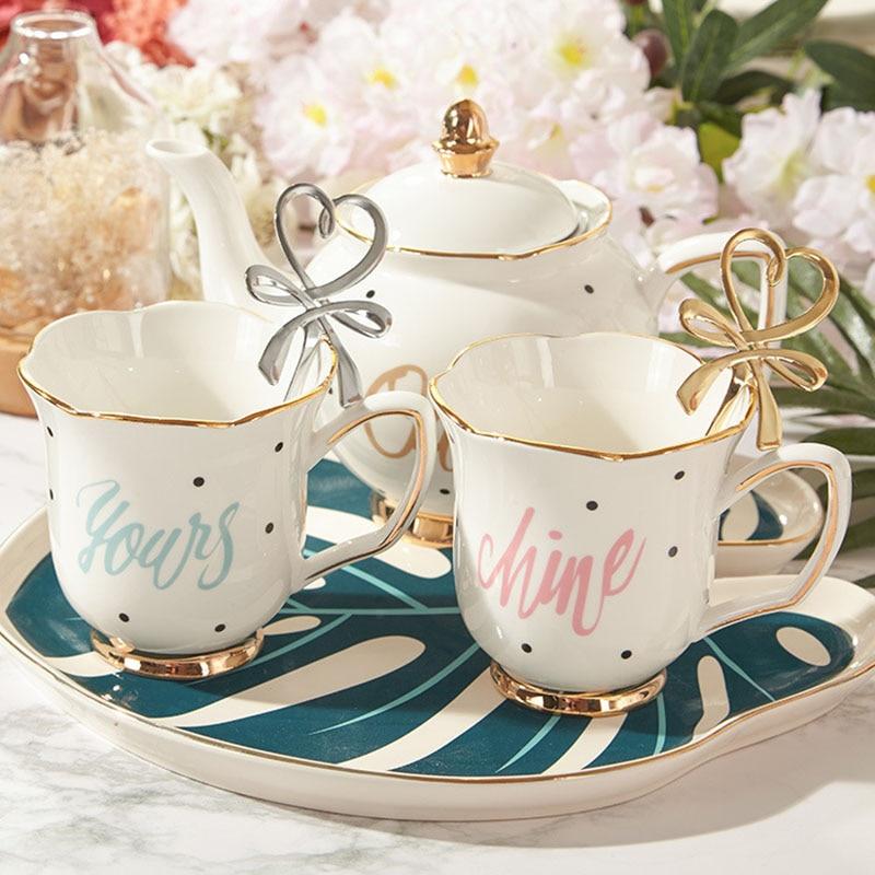 European Ceramic Tea Set Gold Edge Coffee Mug Flower Teapot With Handle Durable Home Kitchen Supplies Desktop Decor Friend Gifts
