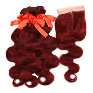 Image 2 - Pinshair 99j hair red burgundy bundles with closure 브라질 바디 웨이브 휴먼 헤어 위브 번들 (closure non remy no tangle)