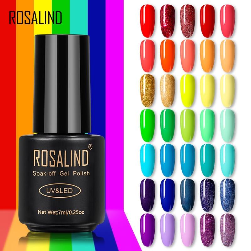 ROSALIND Gel Polish Rainbow Color Gel Nail Polish All For Manicure Semi Permanent Soak Off Nail Art Design Primer For Nails(China)