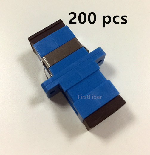 200pcs SC UPC Connector SC Optical Adapter SM Flens Singlemode Simplex SC-SC Coupler Flame Retardant