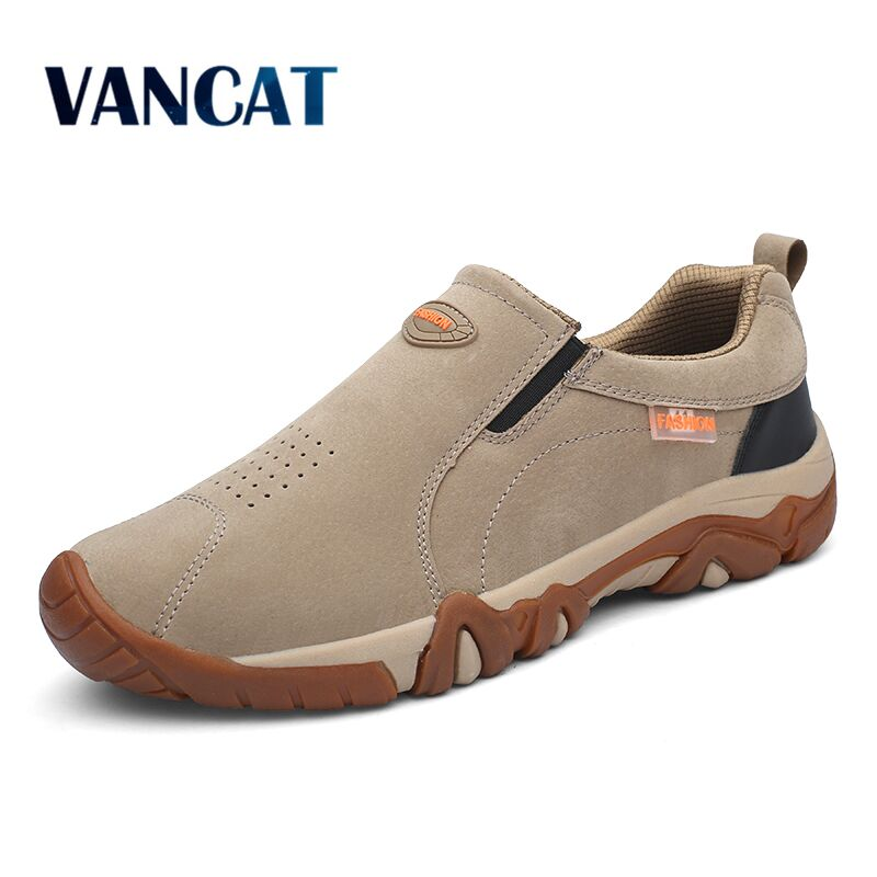 2020New High Quality Brand Men Shoes Genuine Leather Loafers Breathable Spring Autumn Casual Shoes Outdoor Non Slip Men Sneakers