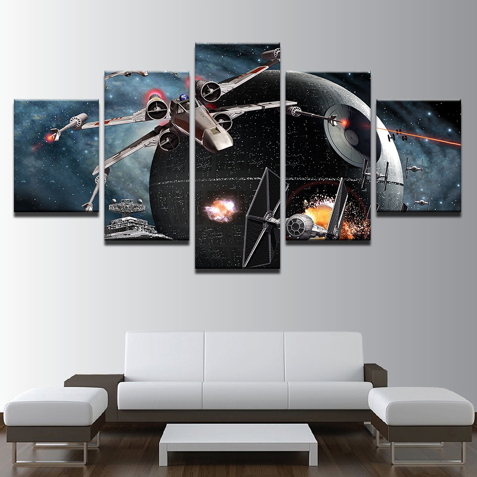 Canvas Pictures Home Decor Living Room HD Prints 5 Pieces Star Wars Death Star Painting Movie Aircraft Poster Wall Art Framework image