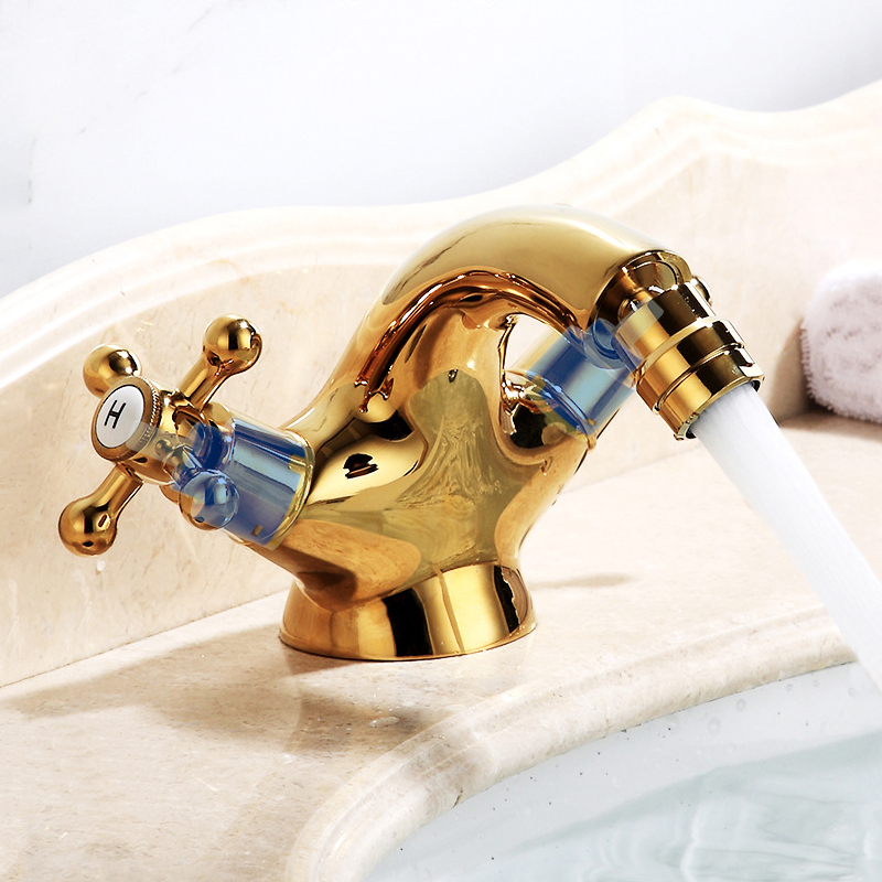 Gold Toilet Bidet Faucet Adjustable Aerator Anal Cleaning Bathroom