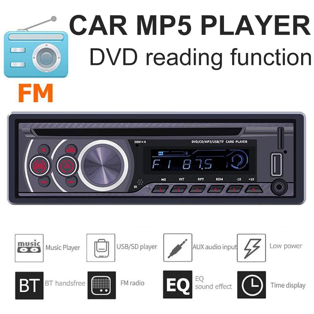 1 Din Car Multifuction Bluetooth Stereo CD VCD DVD AUX USB Radio Audio Multimedia MP3 Player автомагнитола image