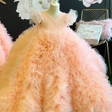 Lovely Blush Toddler Ball Gown Flower Girls Dresses For Wedding Birthday Party Ruffles Tulle Short Sleeves Pleated First Communi