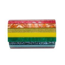 Акриловая сумка клатч легко сочетающаяся с радужной яркой сумочкой