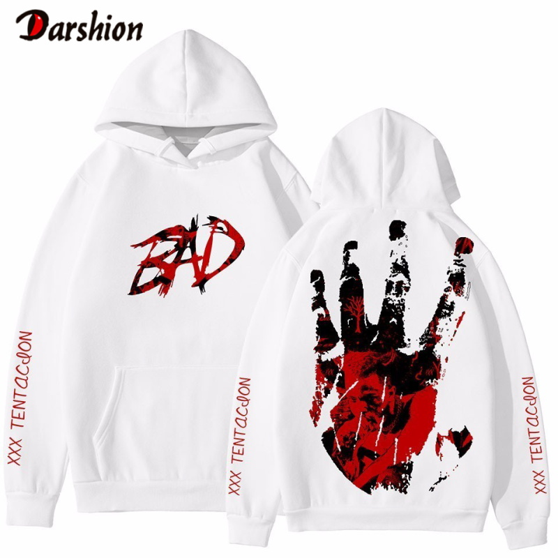 Fashion Letter BAD Printed Hoodie Ripper Xxxtentacion Hip Hop Rapper Hoodies Men Loose Long Sleeves Hooded Sweatshirts Pullovers
