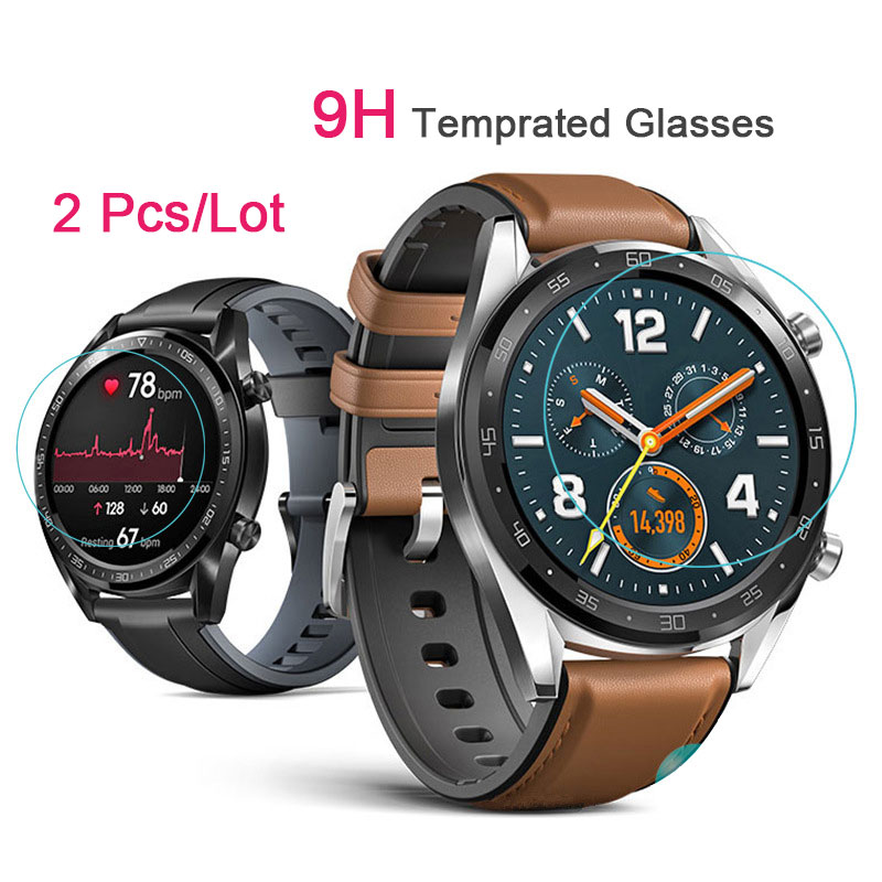 2pcs Protector Cover For Huawei Watch GT Case Empered Glass Screen Protector Protective Film Guard Anti Explosion Anti-shatter