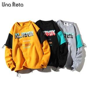 Image 4 - UnaReta Winter Neue Hip hop Männer Sweatshirt Mode Gefälschte zwei stück design Warme Fleece Pullover Tops Mens Casual Streetwear