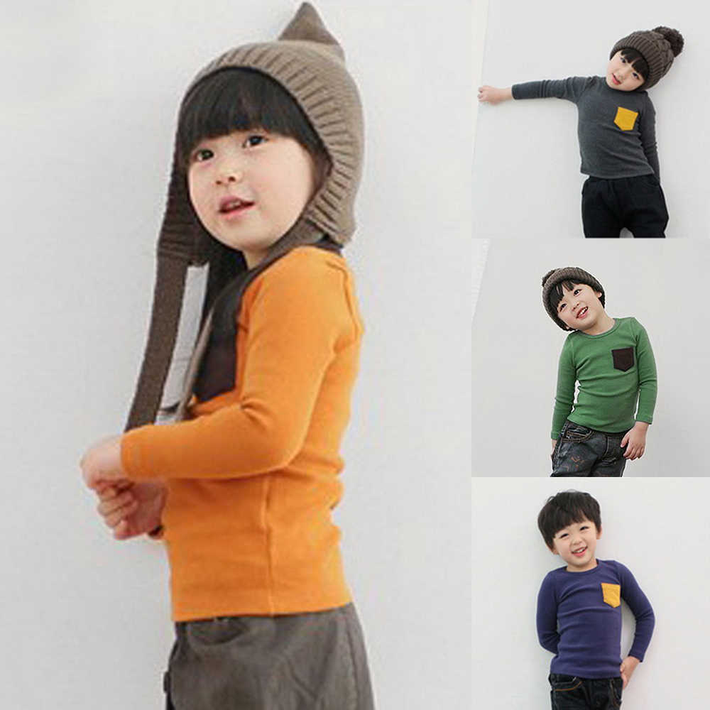 Spring Autumn Blouse Girl Clothes Boys Girls Long Sleeve T-shirt Candy Color Kids Cotton Pocket Tops Children Casual Tees Baby
