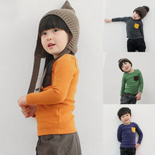 Spring Autumn Blouse Girl Clothes Boys Girls Long Sleeve T-shirt Candy Color Kids Cotton Pocket Tops Children Casual Tees Baby(China)