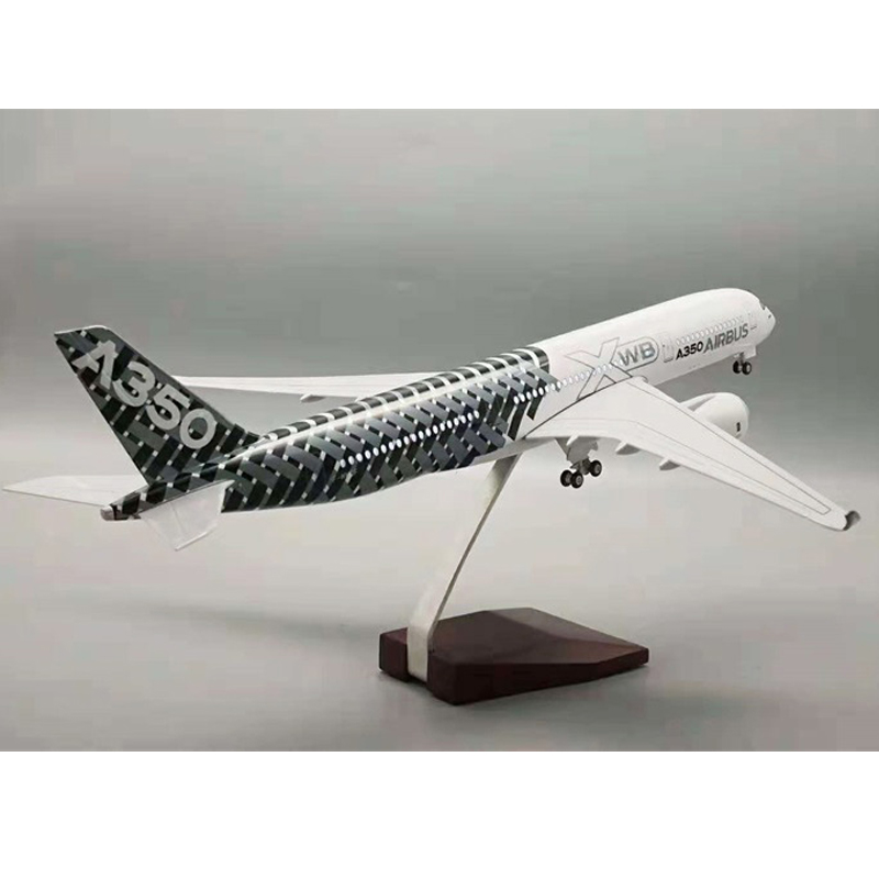 <font><b>1</b></font>:144 Scale 47cm Resin Aircraft <font><b>Model</b></font> Airbus A350XWB Original <font><b>Model</b></font> Snake Skin with Light Wheel Diecast Plastic Resin Plane Toy image