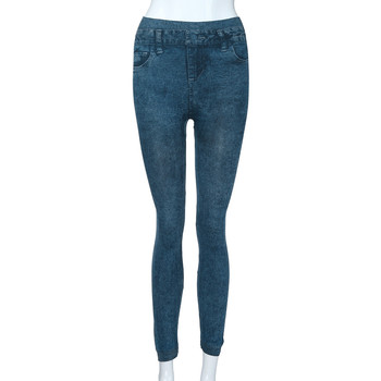 2021 New Fashion Simple Casual Women's Solid Colour Pockets Elastic Waist Band High-Waisted Slimming Pencil Jeans Long Trousers 1