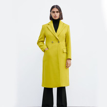 ZA Autumn New 2019 Coat Fashion Yellow Casual Simple Classic Double Breasted Chic Female Charm Coat Office Lady(China)