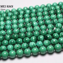 Meihan טבעי ירוק מלכיט 9.5 10mm חלק עגול אירופאי חרוזים אבן עבור תכשיטי ביצוע עיצוב אבן diy צמיד