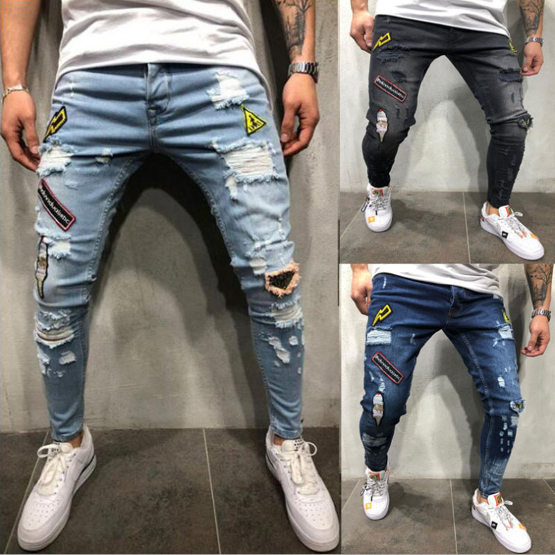 New Men's Fashion Hole Repair Slim Trend Jeans Scratches High Quality Jeans Stretch Hollow Tight Riding Patch Print Jeans