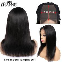 HANNE Hair 4X 4 chiusura in pizzo parrucche per capelli umani parte centrale Remy capelli lisci parrucca brasiliana Glueless con capelli per bambini per donne nere