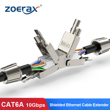 ZoeRax Cat6A Cat7 Cable Extender Junction Adapter Connection Box RJ45 Lan Cable Extension Connector Full Shielded Toolless