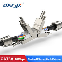 Zoerax cat6a cat7 cabo extensor adaptador de junção caixa conexão rj45 lan cabo extensão conector completo blindado toolless