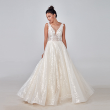 2020 champage Ivory Wedding Dress Custom made Plus Size Bridal shiny lace Mariage Deep V neck Open Back original design