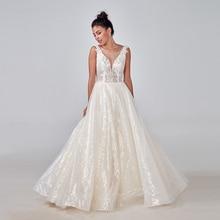 2020 szampana suknia ślubna w kolorze kremowym wykonane na zamówienie Plus rozmiar dla nowożeńców błyszczące koronki Mariage głębokie V neck bez pleców oryginalny design