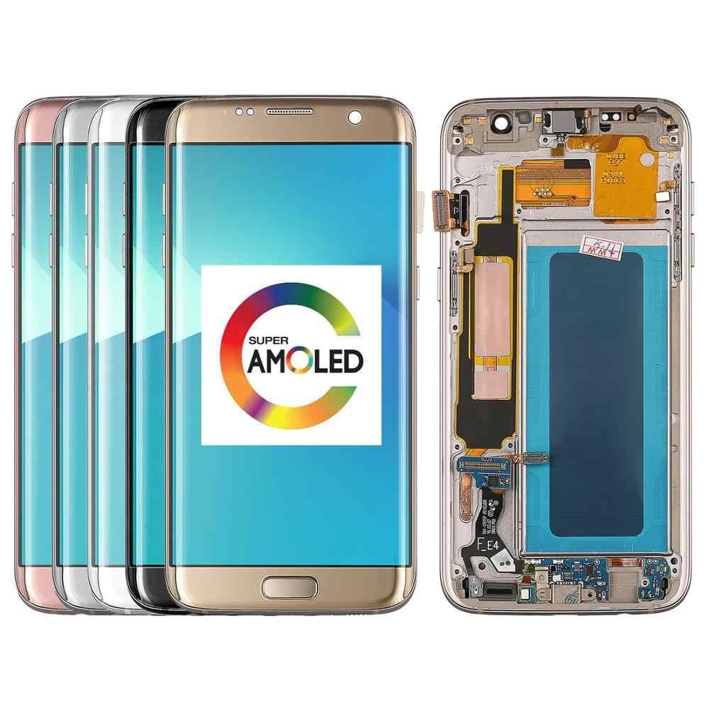 100% اختبار العمل سوبر Amoled شاشات lcd لسامسونج غالاكسي S7 حافة عرض G935 G935F شاشات الكريستال السائل عرض + مجموعة المحولات الرقمية لشاشة تعمل بلمس