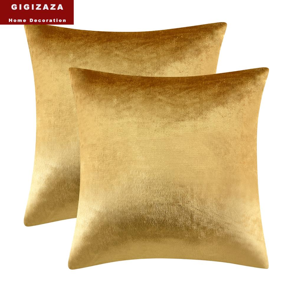 Modern Solid Velvet <font><b>Cushion</b></font> <font><b>Covers</b></font> for Sofa Bed Couch Home Decor Luxury Throw Pillows <font><b>Covers</b></font> Cases 45x45 <font><b>50x50</b></font> Gold Pillowcases image