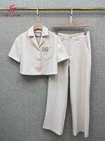 Summer 2020 New Women Suit Fashion Short Blazer Jacket + Straight High Waist Casual Trousers Two piece Suit Set