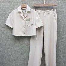 Summer 2020 New Women Suit Fashion Short Blazer Jacket + Straight High Waist Cas