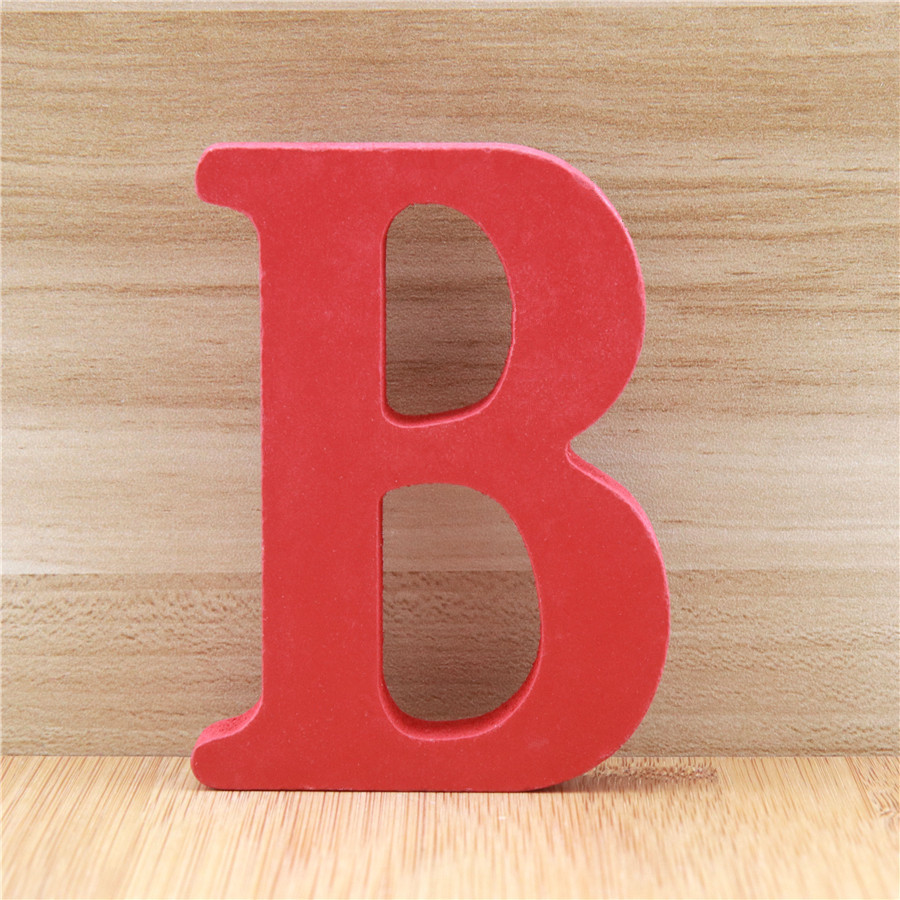 1pc 10cm Wooden Letters Alphabet Name Design Art Crafts Red Letter Standing Shape DIY Word Party Wedding Home Decor 3.94 Inches