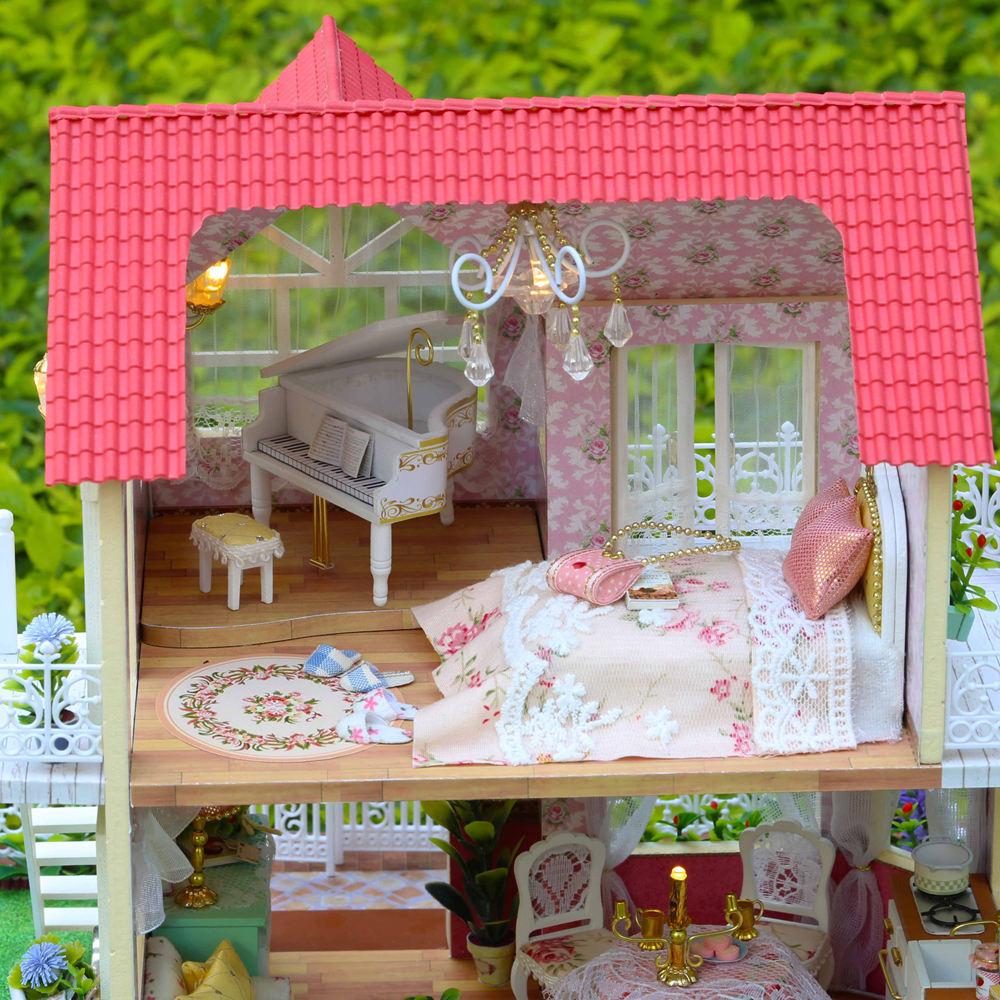 Nuevo DIY 3D casa de muñecas de madera habitación de princesa decoraciones hechas a mano Regalo de Cumpleaños niños juguete con muebles para regalo de cumpleaños - 6