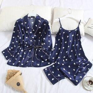 Image 4 - Fiklyc roupa interior de três peças feminino dot cetim pijamas define manga longa outono calças compridas pijamas conjuntos feminino sexy nightwear